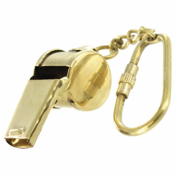 おしゃれなアンティークキーホルダー ホイッスル 笛 キーチェーン キーリング ブラス製 アクセサリ