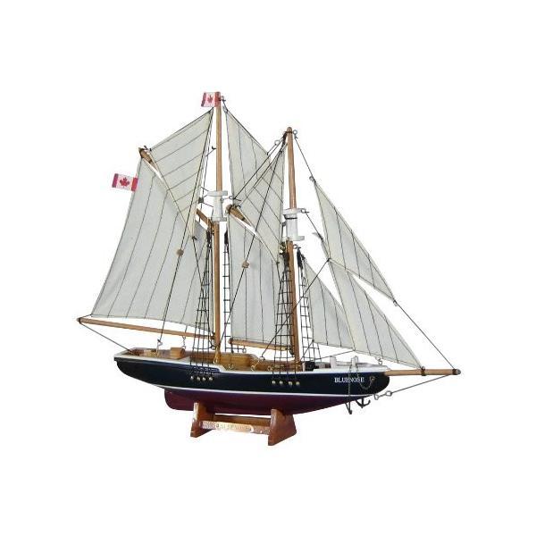 帆船模型 完成品 木製 17インチ ブルーノーズ号 セイルボート カナダ スクーナー船 全長 43cm