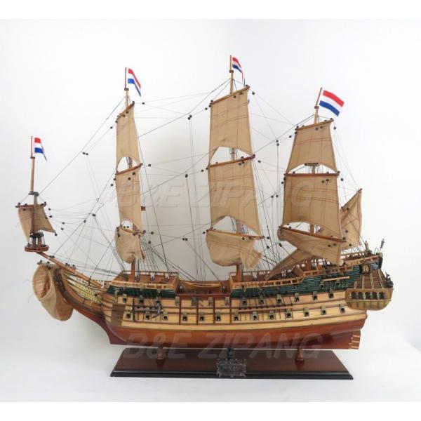 帆船模型 完成品 木製 37インチ オランダ帆船 フリースランド号 全長93cm 船 インテリア T027