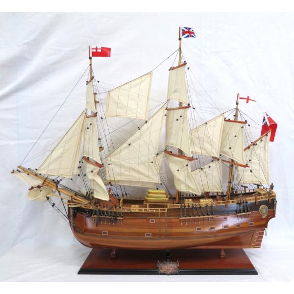 帆船模型 完成品 木製 全長 96cm 38インチ HMS エンデバー ジェームズ クック 船 インテリア T094
