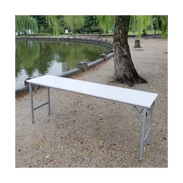 耐水・超軽量 折りたたみ 会議テーブル 幅1800 奥行450 高さ700 約7kg ブラック/シルバー選べる脚色 長机 会議デスク|bfd|02