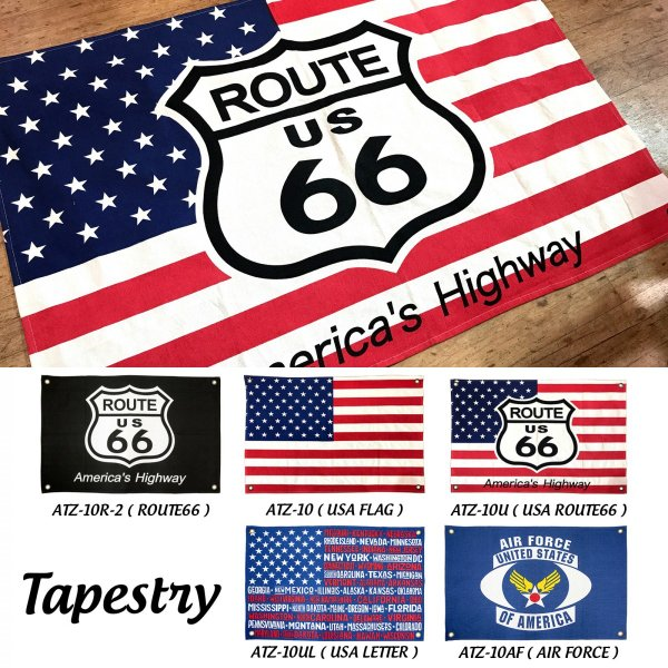 タペストリー 男前 ブルックリン おしゃれ インテリア アートポスター 国旗 アメリカ 雑貨 ルート66 フラッグ|biaro