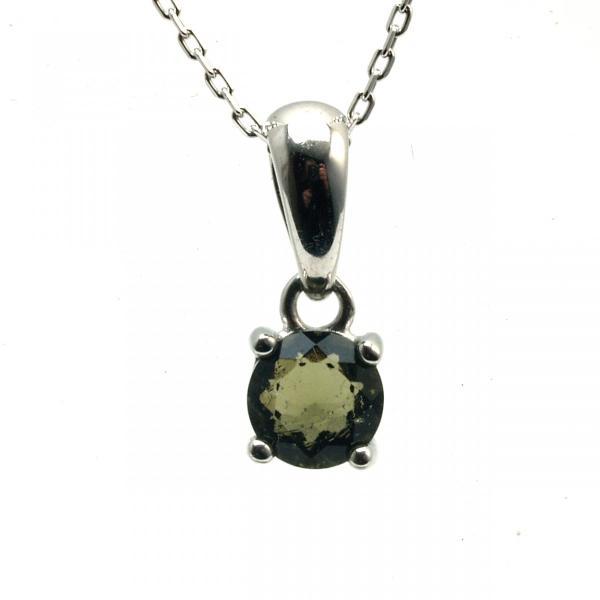 天然 モルダバイト ブリリアントカット 6mm ペンダント 宝石質 鑑別済み|bibi-store