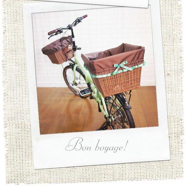 自転車かごカバー 強力防水  リボン  /前かご 後ろカゴ ワイドかご 対応/雨 鞄の傷防止 (特許) かわいい おしゃれ スタイリッシュ bibica 03