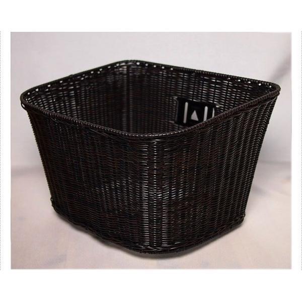 ◇籐風バスケット[黒] ◇前・フロント◇線樹脂を編みこんだ籐風樹脂フロントバスケットです。 bibica 03