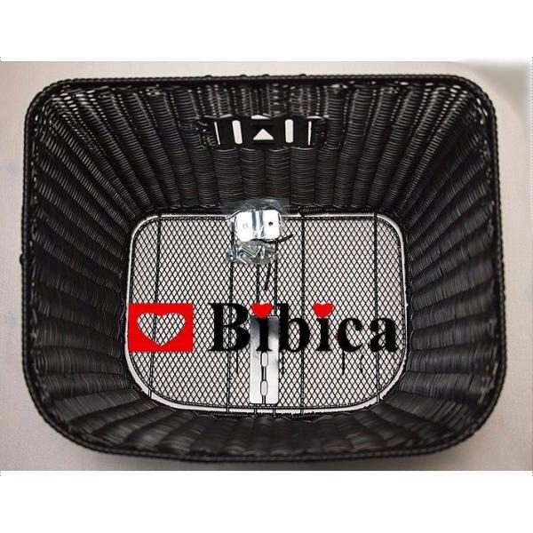 籐風バスケット(黒)  前・フロント 線樹脂を編みこんだ籐風樹脂フロントバスケットです。|bibica|04