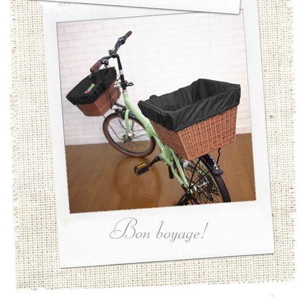 自転車かごカバー 強力防水  ライトブラックプラス  /前かご 後ろカゴ ワイドかご 対応/雨 鞄の傷防止 (特許) かわいい おしゃれ スタイリッシュ|bibica|03