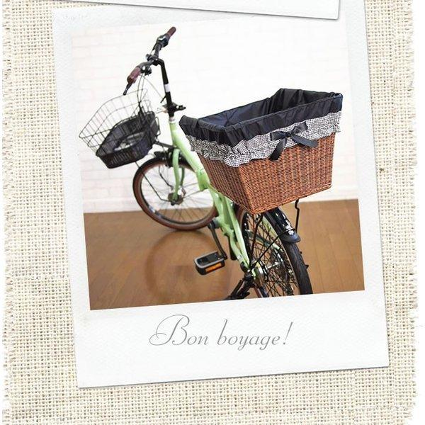 自転車カゴカバー 強力防水  ギンガムリボン(選べるTOP色) /前かご 後ろカゴ ワイドかご 対応/雨 鞄の傷防止 (特許) かわいい おしゃれ スタイリッシュ|bibica|03