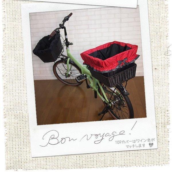 自転車かごカバー 強力防水  ストロベリードット  /前かご 後ろカゴ ワイドかご 対応/雨 鞄の傷防止 (特許) かわいい おしゃれ スタイリッシュ|bibica|03