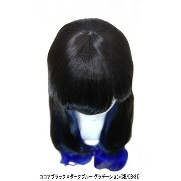 ウィッグ  ロングウィッグ ウェーブ ツートン 巻き髪/耐熱 フルウィッグ グラデーション 黒髪 /条件付き送料無料 ヘアネット付き ビビデバビデブー /DMB4L3BLUE bibidebabideboo 04