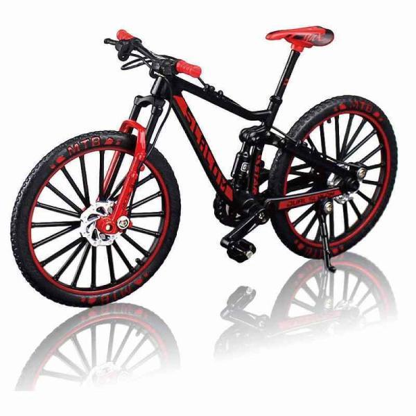 自転車 おもちゃ MTB マウンテンバイク 模型 ダイキャスト 1/10 ブラック/レッド