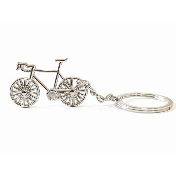 キーホルダー おしゃれ メンズ キーリング 自転車モチーフ レディース ロードバイク かわいい バッグチャム シルバー