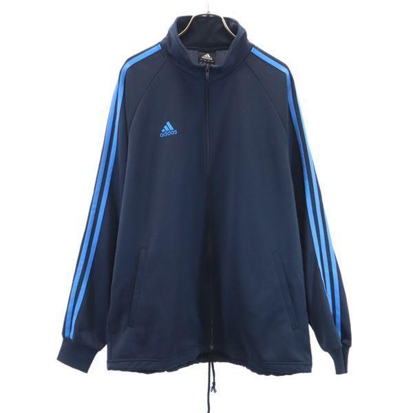 アディダスラインジャージL紺x青adidasスポーツジャケットメンズ古着210415