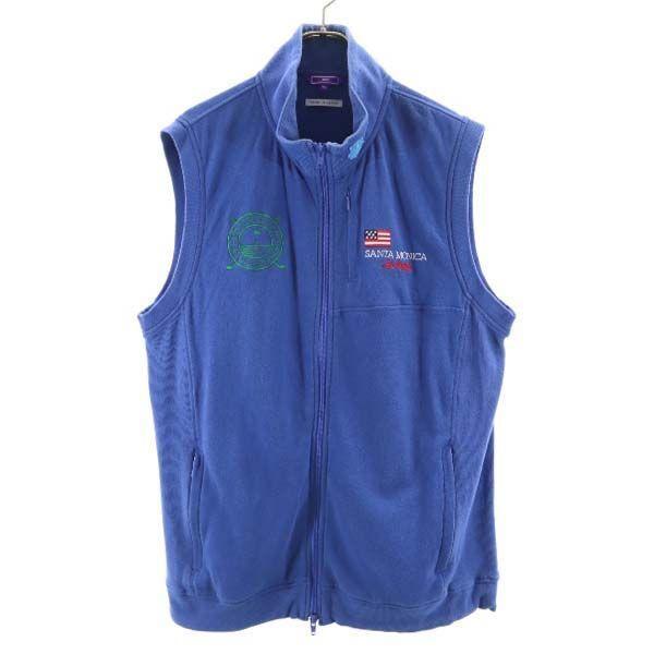 ビームスゴルフSANTAMONICAベスト刺繍ゴルフウェアXL青系BEAMSGOLFジップアップメンズ古着210507