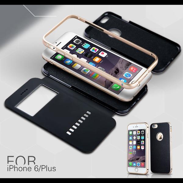 【定形外選択で送料無料※代引は送料有料返品不可】iphone6S iphone6 手帳型 iphone6 2WAY 革 アルミバンパー 2WAY SPC-L007|big-market