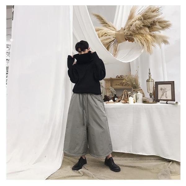 メンズ 厚手 ガウチョパンツ ワイドパンツ 暖か ウィンター ウォーム 袴 ハカマパンツ ゆったり ストリート モードミックス カジュアル  メンズフ|bigbangfellas|10
