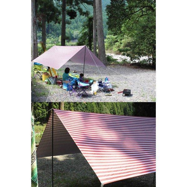 タープ テント タープテント スクエアタープ ボーダー ストライプ レクタタープ 300x300cm 3m 日よけ UVカット 耐水加工 簡易テント|bigbangfellas|08
