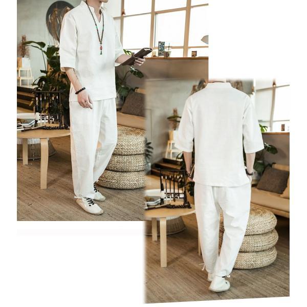 メンズ  チャイナ セットアップ 上下 チャイナシャツ パンツ 上下セット ダンス 普段着 部屋着 リラックス 中華風 エスニック ハーフスリーブ 半|bigbangfellas|05