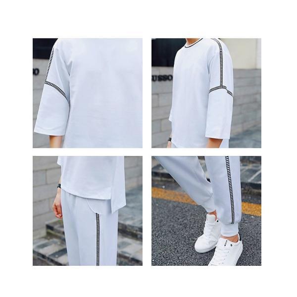 メンズ レディース  ハーフスリーブ ティーシャツ セットアップ 7分袖 七分 ジョガーパンツ ジャージ 側章 サイドストライプ スウェット スエット|bigbangfellas|06