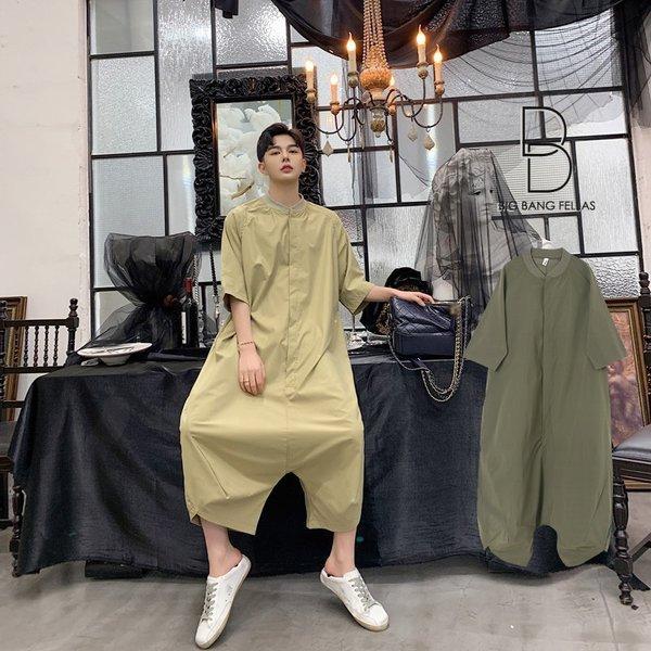 個性出したい人限定 メンズ 半袖 ジャンプスーツ ゆったり つなぎ オールインワン コンビネゾン ファッション ストリート系 カジュアル モード系 韓|bigbangfellas