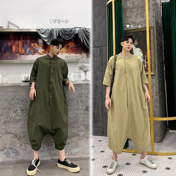 個性出したい人限定 メンズ 半袖 ジャンプスーツ ゆったり つなぎ オールインワン コンビネゾン ファッション ストリート系 カジュアル モード系 韓|bigbangfellas|02