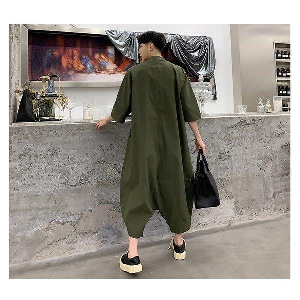 個性出したい人限定 メンズ 半袖 ジャンプスーツ ゆったり つなぎ オールインワン コンビネゾン ファッション ストリート系 カジュアル モード系 韓|bigbangfellas|11