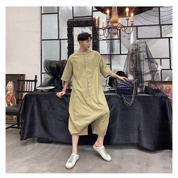 個性出したい人限定 メンズ 半袖 ジャンプスーツ ゆったり つなぎ オールインワン コンビネゾン ファッション ストリート系 カジュアル モード系 韓|bigbangfellas|19