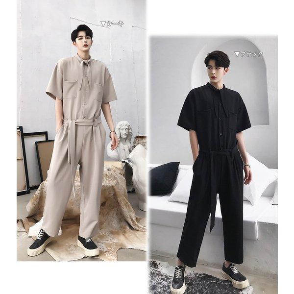 半袖 つなぎ オールインワン オーバーオール ジャンプスーツ サロペット ゆったり メンズ メンズファッション  無地 韓流 韓国 ファッション モード bigbangfellas 02