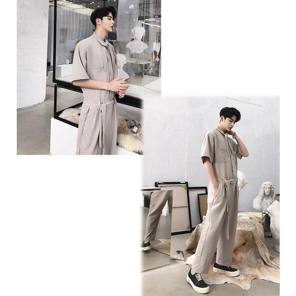 半袖 つなぎ オールインワン オーバーオール ジャンプスーツ サロペット ゆったり メンズ メンズファッション  無地 韓流 韓国 ファッション モード bigbangfellas 04