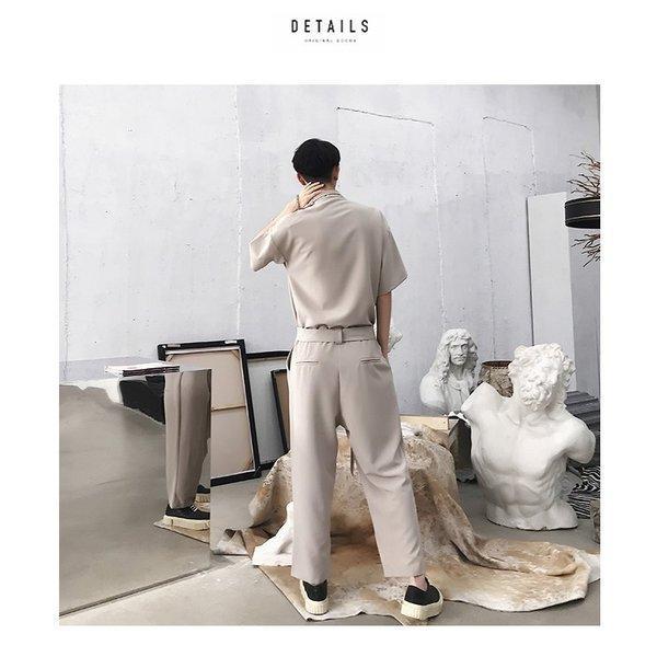 半袖 つなぎ オールインワン オーバーオール ジャンプスーツ サロペット ゆったり メンズ メンズファッション  無地 韓流 韓国 ファッション モード bigbangfellas 05