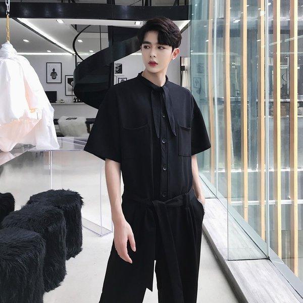 半袖 つなぎ オールインワン オーバーオール ジャンプスーツ サロペット ゆったり メンズ メンズファッション  無地 韓流 韓国 ファッション モード bigbangfellas 06
