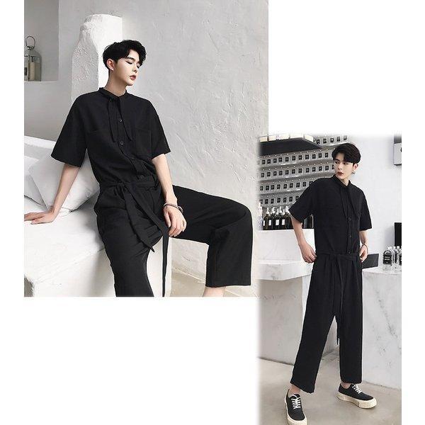 半袖 つなぎ オールインワン オーバーオール ジャンプスーツ サロペット ゆったり メンズ メンズファッション  無地 韓流 韓国 ファッション モード bigbangfellas 07