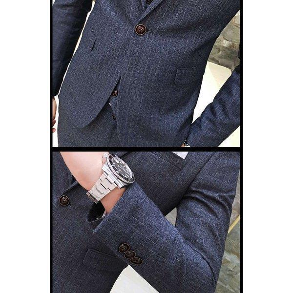 スーツ メンズ ストライプ ピーススーツ スタイリッシュスーツ メンズスーツ 3点セット スリム セットアップ 上下 ビジネススーツ ベスト パン|bigbangfellas|03