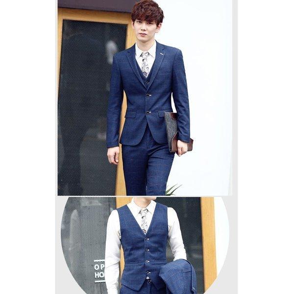 スーツ メンズ チェック ピーススーツ スタイリッシュスーツ 3点セット メンズスーツ スリム セットアップ 上下 ビジネススーツ ベスト パンツ|bigbangfellas|05