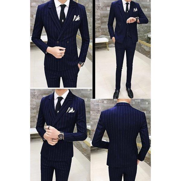 w7001スーツ メンズ ダブル スリーピーススーツ スタイリッシュスーツ メンズスーツ 3点セット ベスト セットアップ 上下 スリム ビジネス bigbangfellas 03