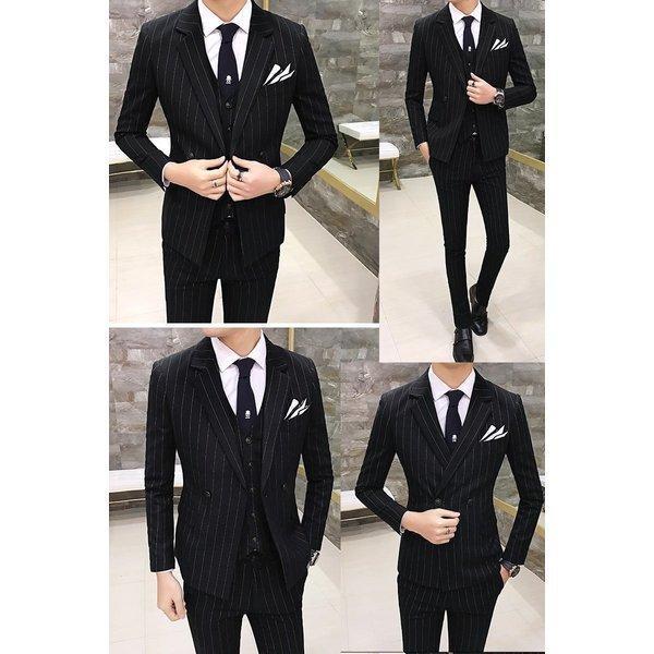 w7001スーツ メンズ ダブル スリーピーススーツ スタイリッシュスーツ メンズスーツ 3点セット ベスト セットアップ 上下 スリム ビジネス bigbangfellas 05