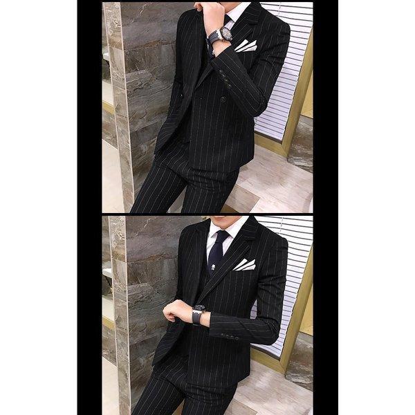 w7001スーツ メンズ ダブル スリーピーススーツ スタイリッシュスーツ メンズスーツ 3点セット ベスト セットアップ 上下 スリム ビジネス bigbangfellas 06