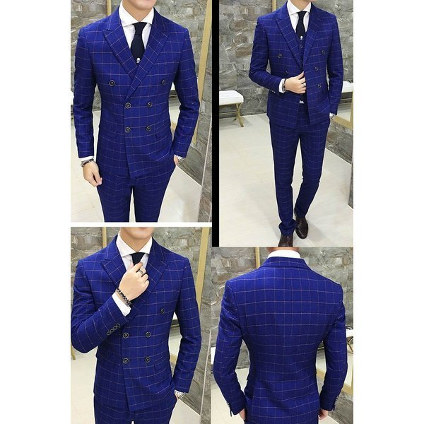 スーツ メンズ スリーピーススーツ スタイリッシュスーツ ダブル メンズスーツ 3点セット 1つボタン メンズスーツ スリム セットアップ 上下 ビ|bigbangfellas|03