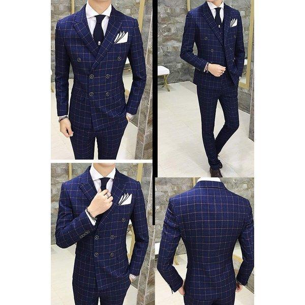 スーツ メンズ スリーピーススーツ スタイリッシュスーツ ダブル メンズスーツ 3点セット 1つボタン メンズスーツ スリム セットアップ 上下 ビ|bigbangfellas|04