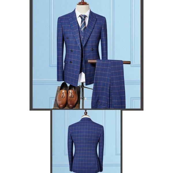 スーツ メンズ スリーピーススーツ スタイリッシュスーツ ダブル メンズスーツ 3点セット 1つボタン メンズスーツ スリム セットアップ 上下 ビ|bigbangfellas|05