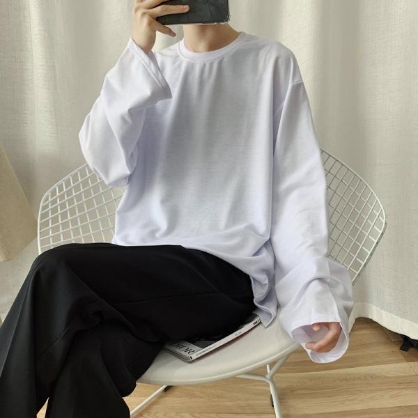ロングTシャツ ロング丈 ロンT メンズ 長袖 カットソー Tシャツ レイヤード トップス 無地 TEE カジュアル 韓国 ファッション 韓流 K-P|bigbangfellas|12
