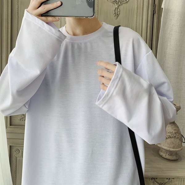 ロングTシャツ ロング丈 ロンT メンズ 長袖 カットソー Tシャツ レイヤード トップス 無地 TEE カジュアル 韓国 ファッション 韓流 K-P|bigbangfellas|13