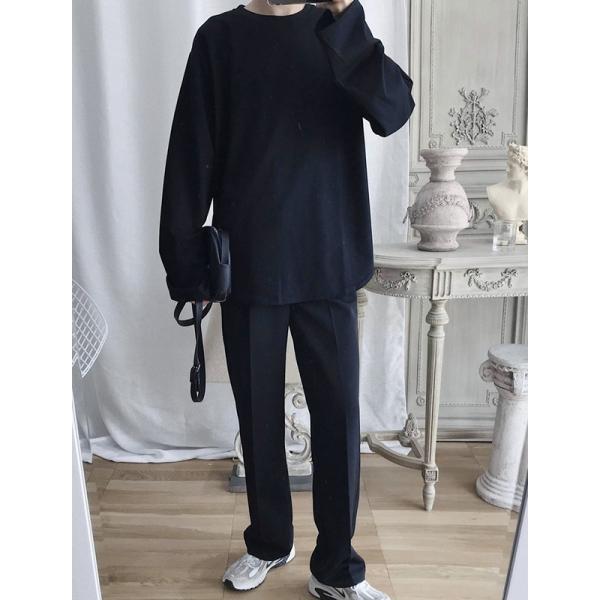 ロングTシャツ ロング丈 ロンT メンズ 長袖 カットソー Tシャツ レイヤード トップス 無地 TEE カジュアル 韓国 ファッション 韓流 K-P|bigbangfellas|04