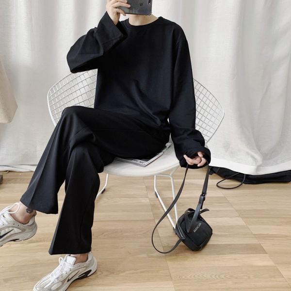 ロングTシャツ ロング丈 ロンT メンズ 長袖 カットソー Tシャツ レイヤード トップス 無地 TEE カジュアル 韓国 ファッション 韓流 K-P|bigbangfellas|05