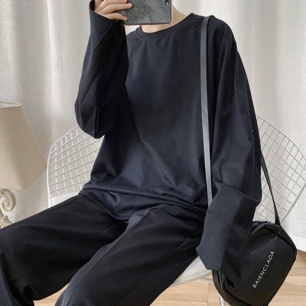 ロングTシャツ ロング丈 ロンT メンズ 長袖 カットソー Tシャツ レイヤード トップス 無地 TEE カジュアル 韓国 ファッション 韓流 K-P|bigbangfellas|06