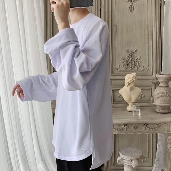 ロングTシャツ ロング丈 ロンT メンズ 長袖 カットソー Tシャツ レイヤード トップス 無地 TEE カジュアル 韓国 ファッション 韓流 K-P|bigbangfellas|09