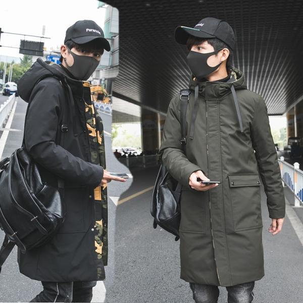 ビッグシルエット 韓国 ファッション メンズ 原宿系 韓国系メンズ 中綿コート 迷彩 ジップアップ フード付き コート メンズ メンズファッション ス|bigbangfellas