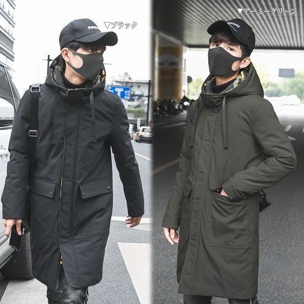 ビッグシルエット 韓国 ファッション メンズ 原宿系 韓国系メンズ 中綿コート 迷彩 ジップアップ フード付き コート メンズ メンズファッション ス|bigbangfellas|02