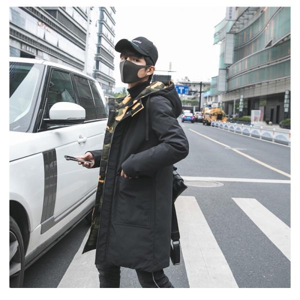 ビッグシルエット 韓国 ファッション メンズ 原宿系 韓国系メンズ 中綿コート 迷彩 ジップアップ フード付き コート メンズ メンズファッション ス|bigbangfellas|04