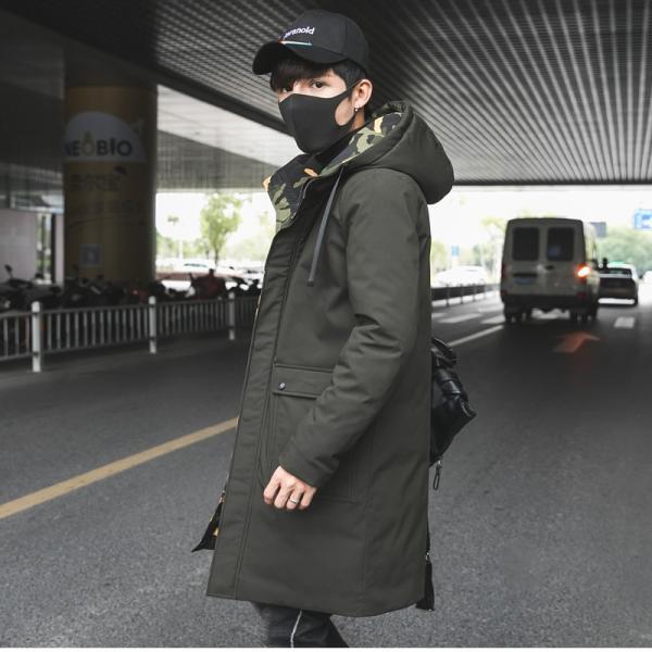 ビッグシルエット 韓国 ファッション メンズ 原宿系 韓国系メンズ 中綿コート 迷彩 ジップアップ フード付き コート メンズ メンズファッション ス|bigbangfellas|07